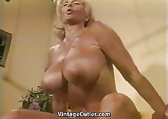 Muscled Buxom Granny Lifts Weights..