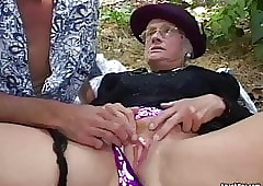 Granny fucked firm open-air